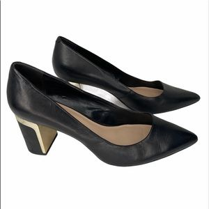 DKNY Elie leather stacked heel pointed toe pumps